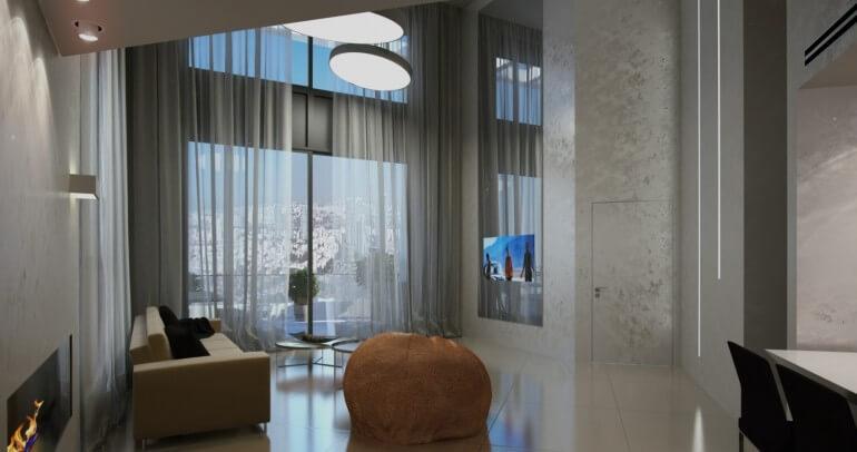 אדריכלים ברחובות בעיצוב בית מדהים עם חלונות גבוהים וספה מעוצבות
