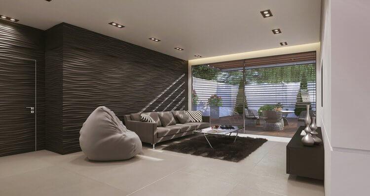 עיצוב סלון מודרני דירת גן בראשל